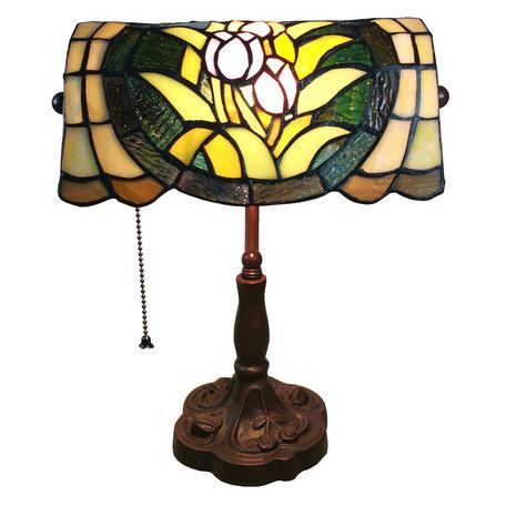 Bureaulamp Tiffany 25*25*42 cm E27/max 1*60W Meerkleurig | 5LL-6013 | Clayre & Eef