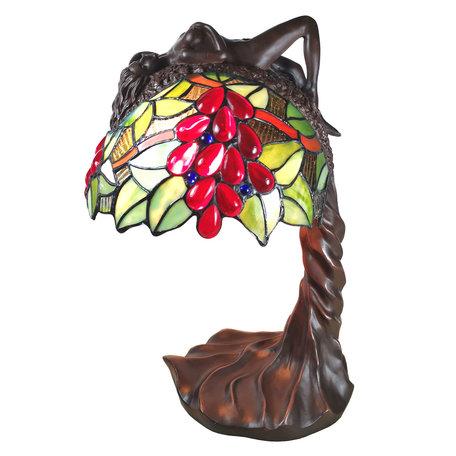Tafellamp Tiffany 28*18*56 cm E27/max 1*60W Creme | 5LL-6018 | Clayre & Eef
