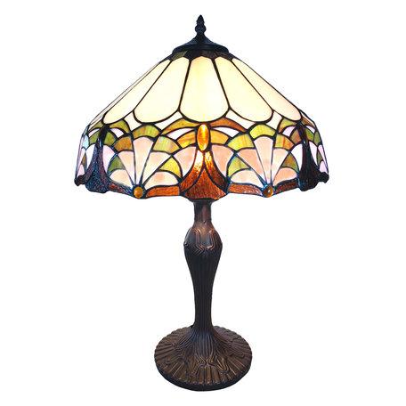 Tafellamp Tiffany ø 41*59 cm E27/max 1*60W Meerkleurig | 5LL-6021 | Clayre & Eef