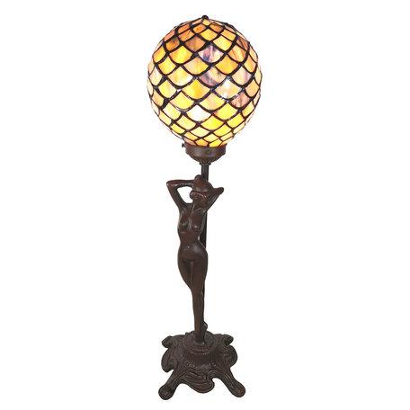 Tafellamp Tiffany 21*21*51 cm E14/max 1*25W Meerkleurig | 5LL-6024 | Clayre & Eef