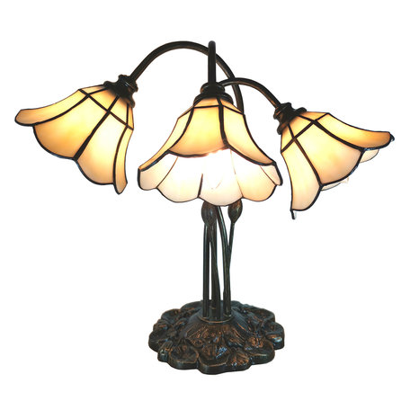 Tafellamp Tiffany 46*28*63 cm E14/max 3*25W Creme | 5LL-6029 | Clayre & Eef