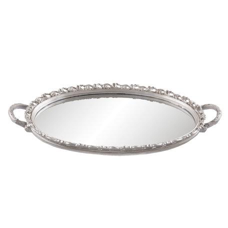 Dienblad met spiegel 49*29*3 cm Zilverkleurig | 63916 | Clayre & Eef