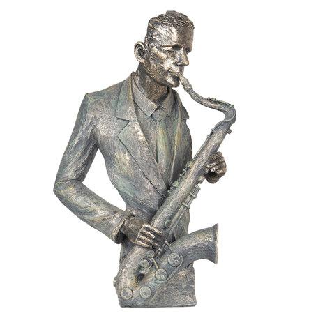 Decoratie saxofonist 28*13*42 cm Grijs | 6PR2690 | Clayre & Eef