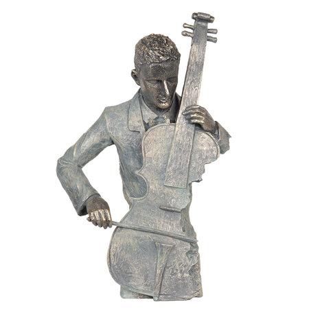 Decoratie cellist 29*13*46 cm Grijs | 6PR2691 | Clayre & Eef