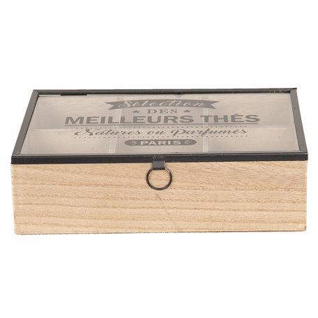 Theedoos (6 vaks) 24*16*7 cm Bruin | 6H1803 | Clayre & Eef
