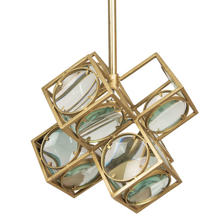 Hanglamp 46*46*46 cm E27/max 1*60W Goudkleurig | 6LMP608 | Clayre & Eef