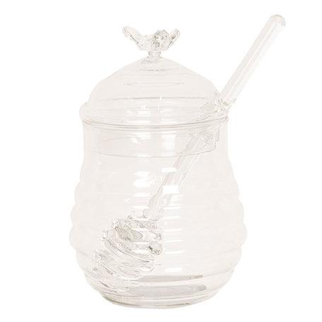Honingpot met lepel ø 8*12 cm Transparant | 6GL2505 | Clayre & Eef
