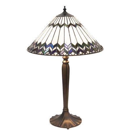 Tafellamp Tiffany ø 40*62 cm E27/max 2*60W Meerkleurig | 5LL-5985 | Clayre & Eef