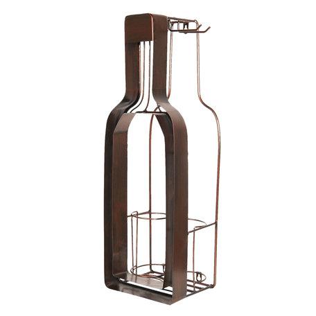 Flessenhouder met kurk en glas houder 20*17*63 cm Bruin | 5Y0630 | Clayre & Eef