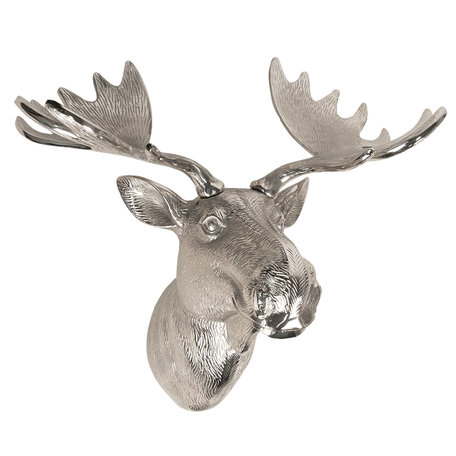 Decoratie eland 53*30*46 cm Zilverkleurig | 5AL0002 | Clayre & Eef