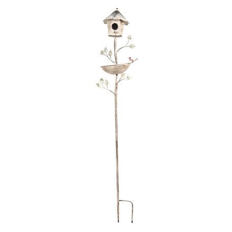 Tuinprikker vogelhuis 28*25*132 cm Bruin | 5Y0642 | Clayre & Eef