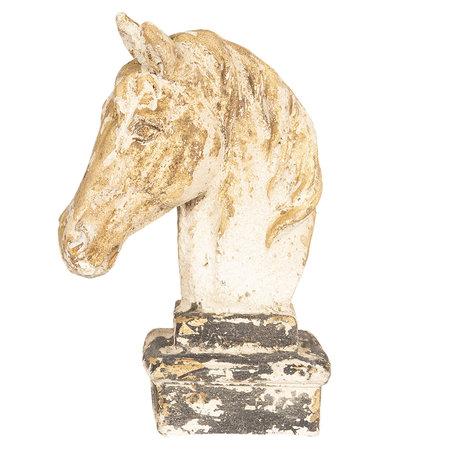 Decoratie paard 23*15*35 cm Creme | 64362 | Clayre & Eef
