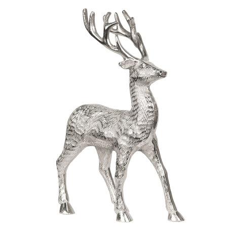 Decoratie rendier 22*10*34 cm Zilverkleurig | 6AL0001 | Clayre & Eef