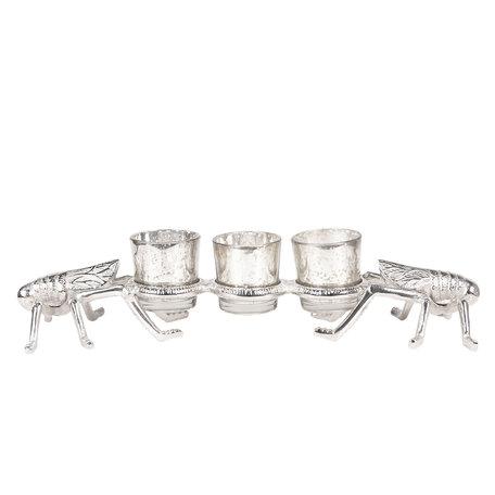 Waxinelichthouder 41*12*8 cm Zilverkleurig | 6AL0011 | Clayre & Eef