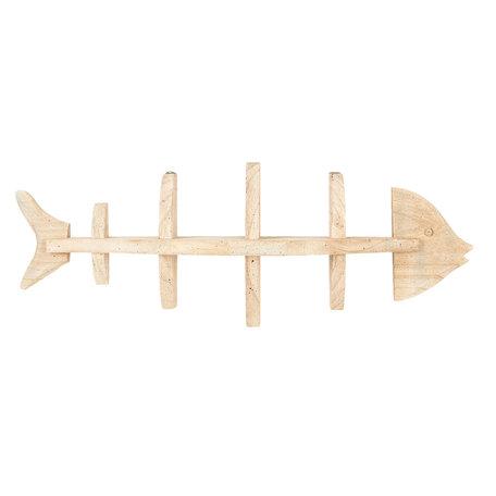 Houten wandrek in vorm van vis 66*13*24 cm Bruin | 6H1787 | Clayre & Eef
