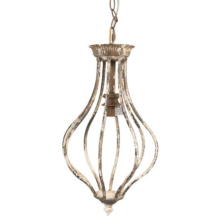 Hanglamp 24*24*46 cm E14/max 1*25W Wit | 6LMP629 | Clayre & Eef
