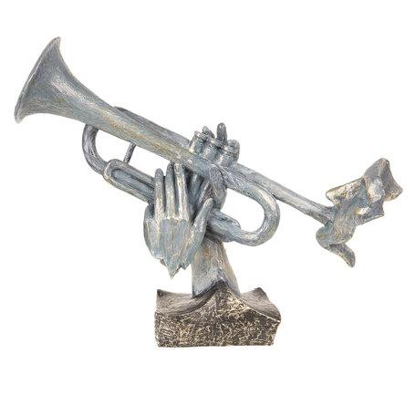 Decoratie trompettist 32*11*28 cm Grijs | 6PR2701 | Clayre & Eef