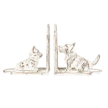 Boekensteun hond (set van 2) 15*7*15 cm Wit   6Y3489   Clayre & Eef