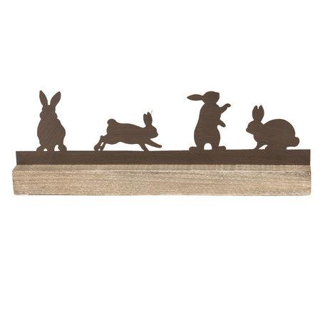 Decoratie konijnen 35*5*12 cm Bruin | 64321 | Clayre & Eef
