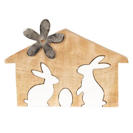 Decoratie konijnen 26*2*17 cm Bruin | 6H1765M | Clayre & Eef