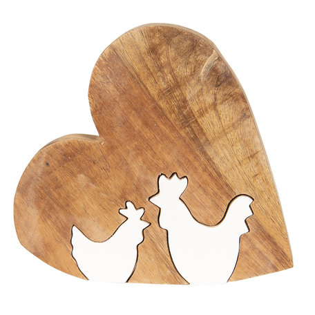 Decoratie hart met kip 23*22*2 cm Bruin | 6H1771M | Clayre & Eef