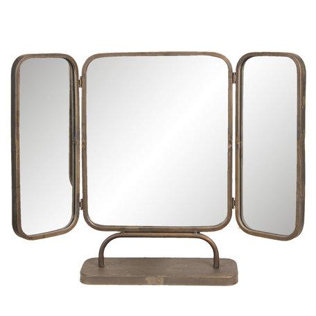 Spiegel drieluik 66*14*50 cm Zwart   52S169   Clayre & Eef