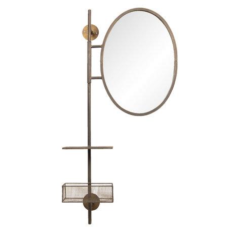 Spiegel met schap en mand 55*20*105 cm Zwart   52S171   Clayre & Eef