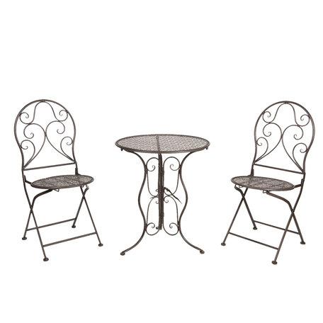 Bistroset tafel + 2 stoelen ø 60*70 / 40*40*92 cm (2) Zwart | 5Y0636 | Clayre & Eef