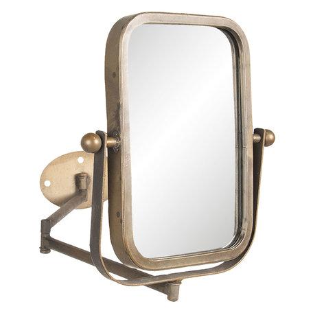 Draaibare spiegel met muurbevestiging 34*2*35 cm Zwart   62S164   Clayre & Eef