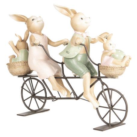 Decoratie konijnen op fiets 10*9*25 cm Multi | 6PR2640 | Clayre & Eef