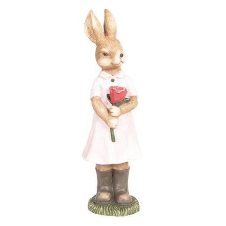 Decoratie konijn 19*18*60 cm Roze | 6TE0271 | Clayre & Eef