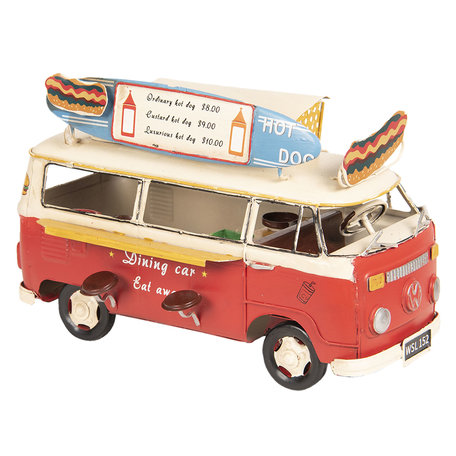 VW bus model licentie 25*14*16 cm Rood   6Y3434   Clayre & Eef