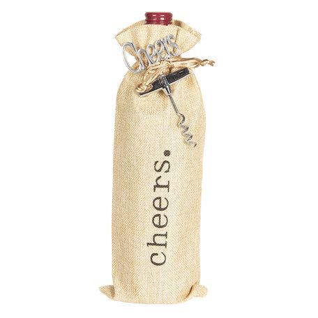 Kurkentrekker met wijntas 11*3*37 cm Creme | 64350 | Clayre & Eef
