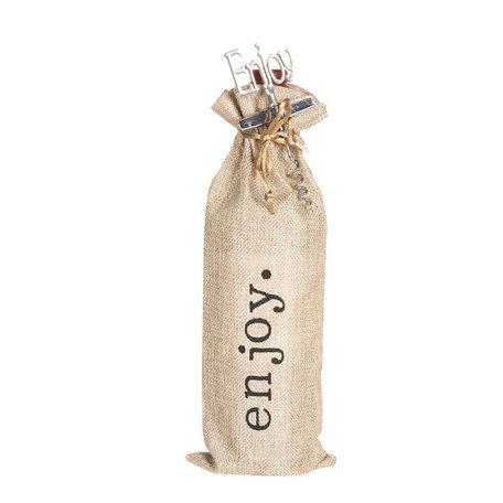 Kurkentrekker met wijntas 11*3*37 cm Creme | 64351 | Clayre & Eef