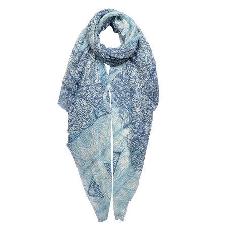 Sjaal 90*180 cm Blauw | JZSC0436 | Clayre & Eef
