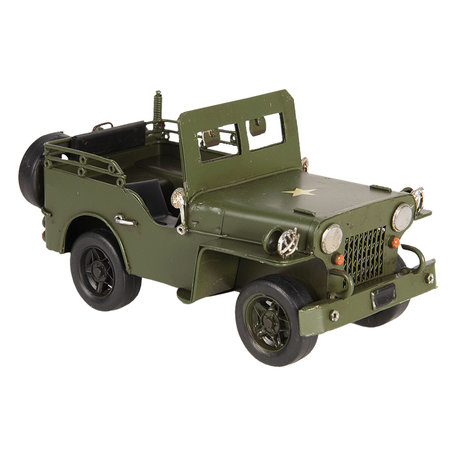 Model jeep 17*9*9 cm Groen   6Y3384   Clayre & Eef