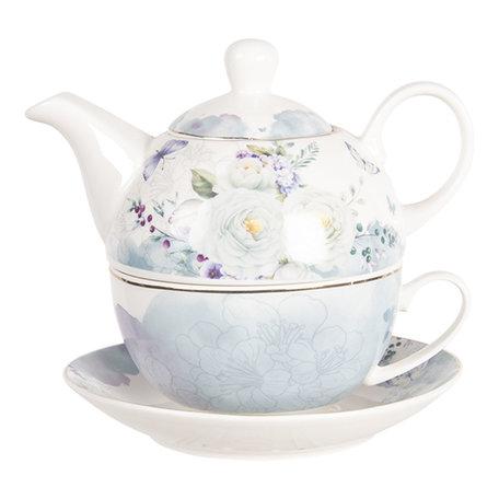 Tea for one set 16*15*14 cm / 0.46L Meerkleurig | BUTTEFO | Clayre & Eef