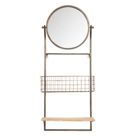 Spiegel met schap en mand 42*13*100 cm Bruin   52S172   Clayre & Eef
