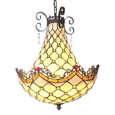 Hanglamp Tiffany ø 41*65/128 cm E27/max 3*60W Meerkleurig | 5LL-6032 | Clayre & Eef