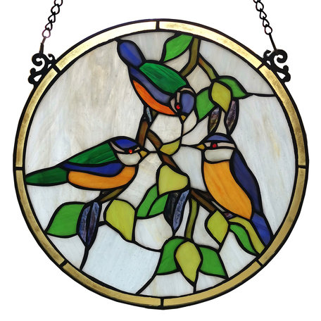 Glaspaneel Tiffany ø 30 cm Groen | 5LL-6033 | Clayre & Eef
