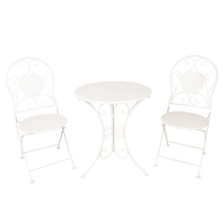 Tafel + 2 stoelen ø 60*70 / 2x ø 40*40*92 cm Wit | 5Y0633 | Clayre & Eef