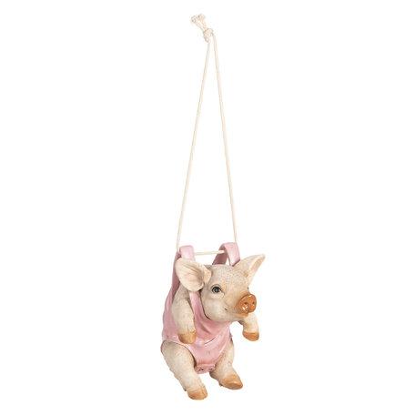Decoratie varken hangend 14*14*20 cm Pink | 6Y3546 | Clayre & Eef
