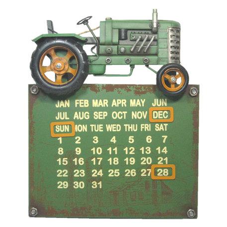 Tractor kalender 34*6*28 cm Groen   JJTR0007   Clayre & Eef