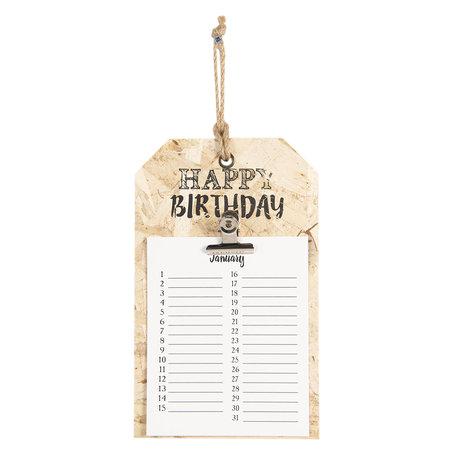 Verjaardagskalender Frans 15*1*25 cm Bruin | 6H1824 | Clayre & Eef
