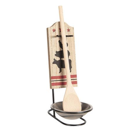 Lepelhouder met houten lepel 9*11*20 cm Bruin | 6Y3693 | Clayre & Eef