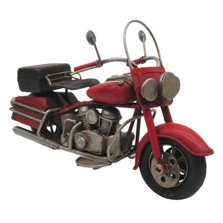 Motorfiets 19*8*11 cm Rood   JJMO0007   Clayre & Eef