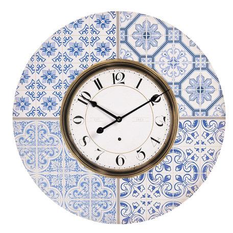 Klok ø 58*4 cm / 1*AA Blauw | 6KL0583 | Clayre & Eef