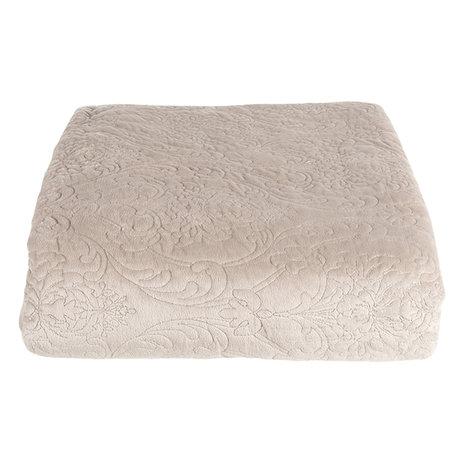 Bedsprei inclusief 2 kussenhoezen 180*260/ (2) 40*40 cm Beige | QS060.004 | Clayre & Eef