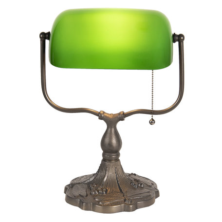 Bureaulamp Tiffany 27*20*36 cm E27/max 1*60W Groen | 5LL-1144GR | Clayre & Eef