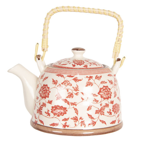 Theepot 18*14*12 cm / 0.8L Rood | 6CETE0071L | Clayre & Eef
